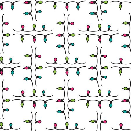 Christmas lights seamless pattern. Hand drawn style. Doodle style. Christmas or New Year vector illustration. Design element for fabric, banner, wrapping paper, wallpaper. Illustration