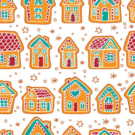 Seamless pattern with gingerbread houses. Christmas vector illustration. Design element for fabric, banner, wrapping paper, wallpaper. Ilustrace