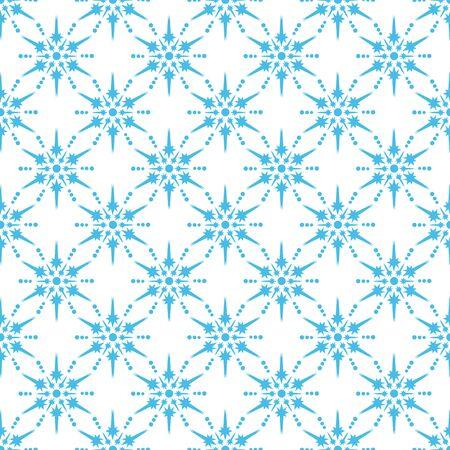 Nahtloses Muster mit Schneeflocken. Flaches Design. Feiertags-Neujahrs- oder Weihnachtsvektorillustration. Gestaltungselement für Banner, Tapete, Packpapier oder Stoff.