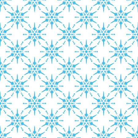 Seamless pattern with snowflakes. Flat design. Holiday New Year or Christmas vector illustration. Design element for banner, wallpaper, wrapping paper or fabric.