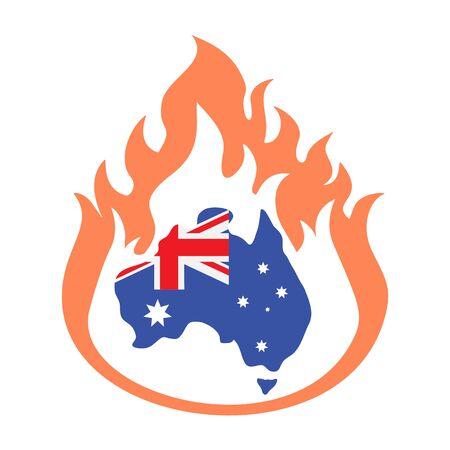 Australia bush fires vector illustration.