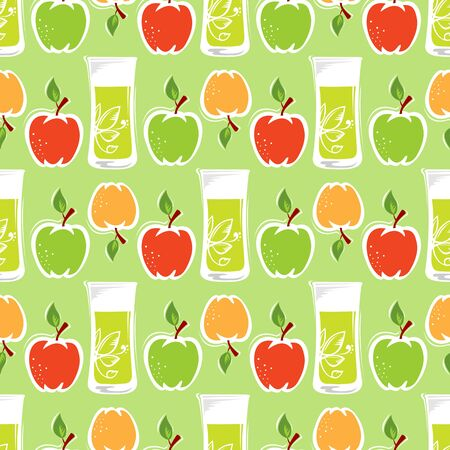 Seamless pattern with red apples and green apples.