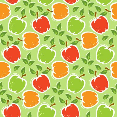 Seamless pattern with red apples and green apples