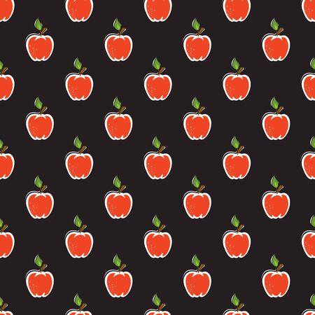 Seamless pattern with red apples on black
