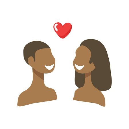Girl and boy with heart isolated on white background. African Valentines Day vector illustration. Flat design elements for greeting card, sticker, leaflet, booklet.