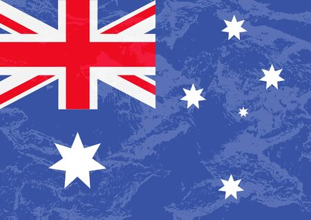 National flag of Australia. Australia Day vector illustration. Grunge style. Design element for banner, poster, booklet, leaflet.