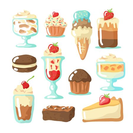 Valentines Day food collection isolated on white background: cupcake, brownie, tiramisu, cheesecake, sundae, muffin, ice-cream, whoopie pie. American desserts vector illustration.