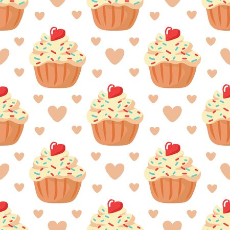 Valentines Day vector illustration. Seamless pattern with cupcakes. Sign of love and romantic. Flat design element for fabric, wallpaper, wrapping paper.