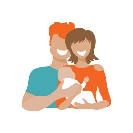 Happy couple with baby. Children adoption concept. Vector illustration. Flat design element for banner, leaflet, sticker, booklet.