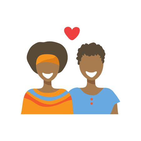 Two girls and heart isolated on white background. Gay couple. African Valentines Day vector illustration. LGBT pride sign. Gay pride symbol. Flat design.  イラスト・ベクター素材