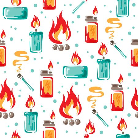 Campfire, candles, match and lighter on white background. Vector illustration. Seamless pattern for banner, wallpaper, wrapping paper or fabric.