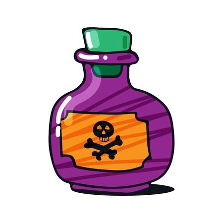 Bottle with potion isolated on white background. Halloween vector illustration. Hand drawn style. Design elements for poster, greeting card, banner, leaflet.