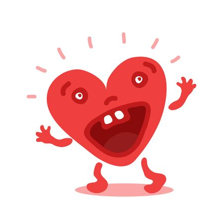 Cute emotional heart isolated on white background. Valentines Day vector illustration. Flat design. Conceptual design element for greeting card, sticker, magnet, leaflet.