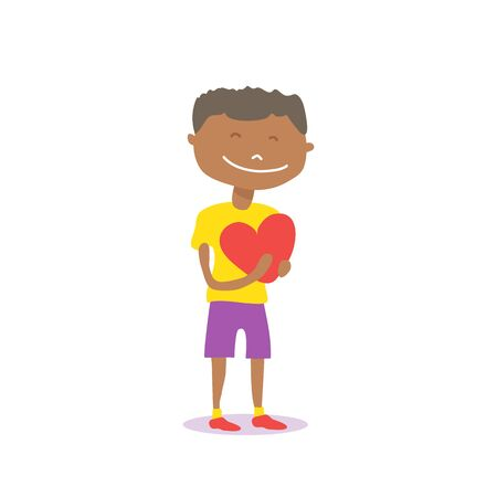 Cute african american boy with heart isolated on white background. Valentines Day vector illustration. Flat design element for greeting card, sticker, leaflet, booklet.