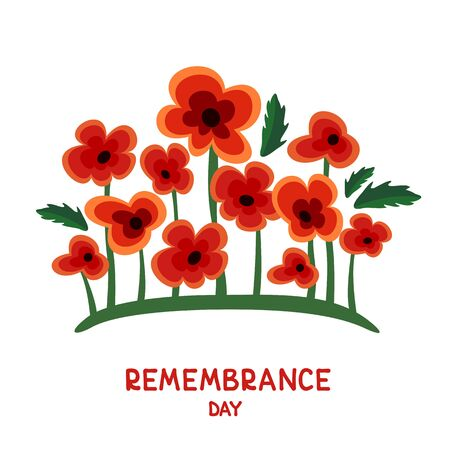 Red poppy with leaves isolated on white background. Remembrance Day vector illustration. Design element for poster, banner, leaflet or sticker. 矢量图像