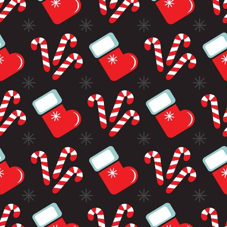 Seamless pattern with sweets and Christmas stocking. Flat design. Christmas illustration. Design element for wallpaper, wrapping paper, banner or fabric.