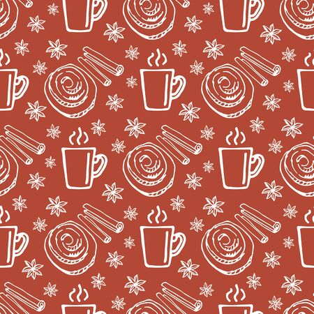 Coffee mug and cinnamon bunns on white background. Seamless pattern for fabric, wallpaper, banner or wrapping paper. Hand drawn style.