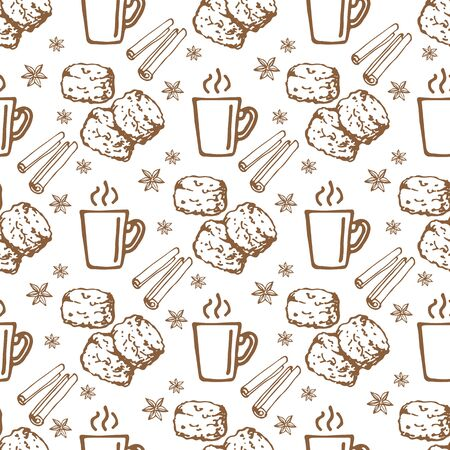Coffee mug and scones on white background. Seamless pattern for fabric, wallpaper, banner or wrapping paper. Hand drawn style.