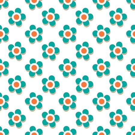 Gender neutral baby seamless pattern with flowers. Design element for nursery, fabric, wallpaper, wrapping paper. Vector illustration. Flat design.
