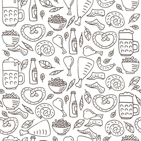 Seamless pattern with Oktoberfest food, beer mugs, chicken grill, sauerkraut, bavarian pretzel and sausages. October beer festival in the Munich, Germany. Vector illustration. Doodle style.
