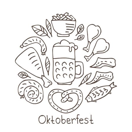 Oktoberfest food, bavarian pretzel and sausages, beer mug and bottle, chicken grill and fish, sauerkraut. October beer festival in the Munich, Germany. Vector illustration. Doodle style.