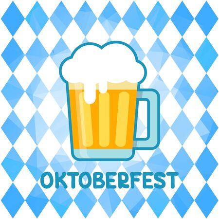 Beer mug on Oktoberfest blue background with Bavarian flag. October beer festival in the Munich, Germany. Vector illustration. Design element for flyer, banner, leaflet or poster.