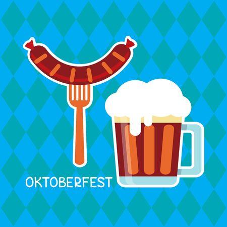 Beer mug and Bavarian sausage on blue background with stylized Bavarian flag. October beer festival in the Munich, Germany. Vector illustration. Design element for flyer, banner, leaflet or poster.