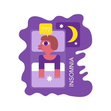 Woman character with insomnia or nightmare lying in bed. Vector illustration. Flat design element for leaflet, poster, banner.