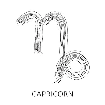 Zodiac sign Capricorn isolated on white background. Zodiac constellation. Design element for horoscope and astrological forecast. Hand drawn style. Vector illustration.