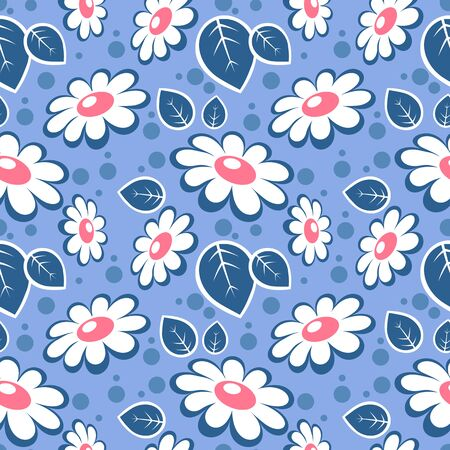 Seamless pattern with daisies. Vector romantic illustration. Design element for fabric, wallpaper or wrapping paper.
