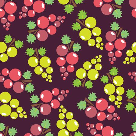 Seamless pattern with pink grape and green grape. Design element for fabric, wallpaper or wrapping paper. Harvest symbol. Ingredients for vine, juice and balsamic vinegar.