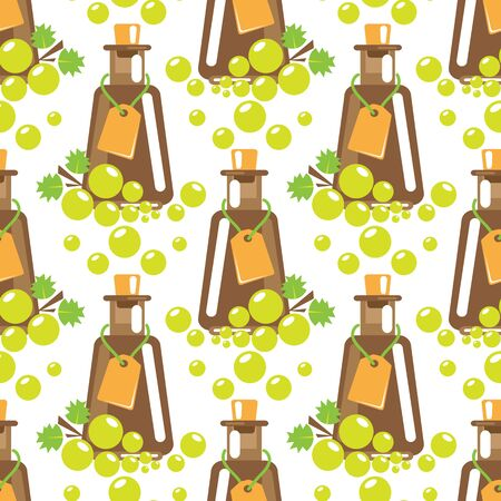 Seamless pattern with balsamic vinegar and grape. Design element for fabric, wallpaper or wrapping paper. Harvest symbol.