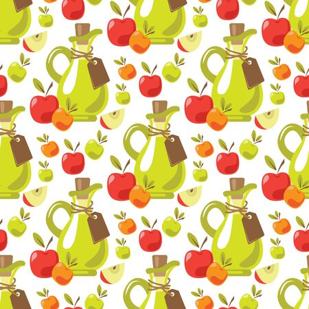 Seamless pattern with apple cider vinegar and fruits. Design element for fabric, wallpaper or wrapping paper. Harvest symbol. Illustration