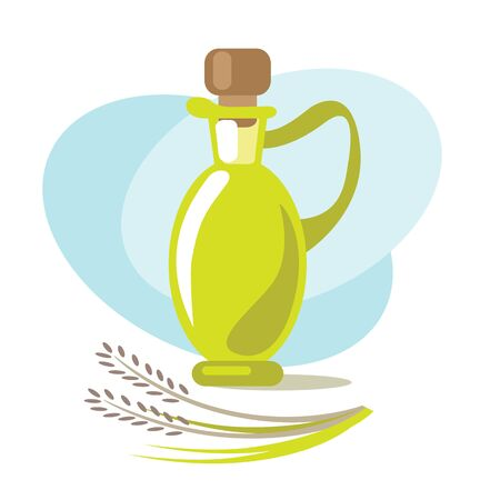 Malt vinegar and rice. Design element for leaflet, booklet or sticker. Harvest symbol. Ingredient for cooking, baking, salad dressing and preservation.