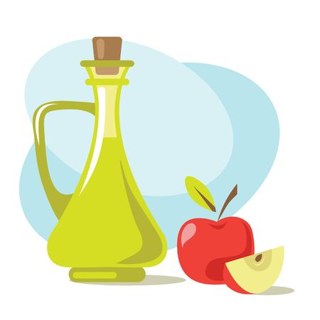 Apple cider vinegar and fruits. Design element for leaflet, booklet or sticker. Harvest symbol. Ingredients for cooking, baking, salad dressing and preservation. Illustration