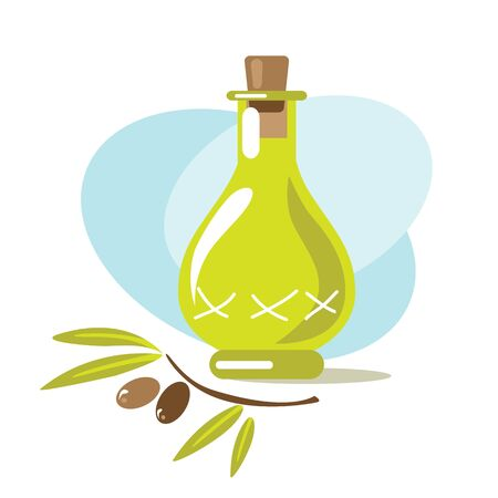 Olive oil or vinegar. Design element for leaflet, booklet or sticker. Harvest symbol. Ingredients for cooking, baking, salad dressing and preservation. Ilustração