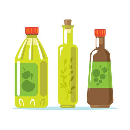 Set of apple cider vinegar, flavored vinegar and balsamic. Design elements for leaflet, booklet or sticker. Harvest symbol. Ingredients for cooking, baking, salad dressing and preservation.