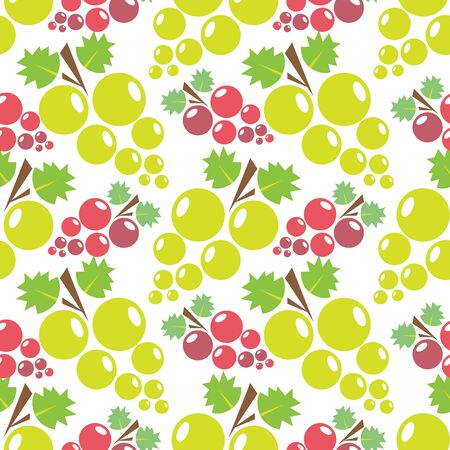 Seamless pattern with red grape and green grape. Design element for fabric, wallpaper or wrapping paper. Harvest symbol. Ingredients for vine, juice and balsamic vinegar.