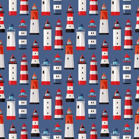Lighthouses on blue background. Seamless pattern. Design element for fabric, gift wrap or wallpaper. Flat design.