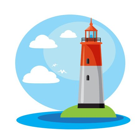 Lighthouse in sunny weather with clouds and birds. Design element for travel booklets, leaflets or stickers. Flat design.