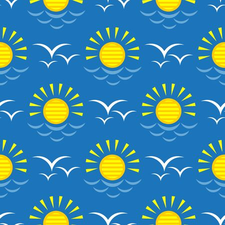 Seamless pattern with flying seagulls and sun. Summer vector illustration. Design element for fabric, wallpaper or wrapping paper.