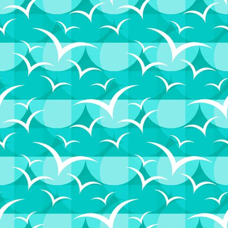 Seamless pattern with flying seagulls. Summer vector illustration. Design element for fabric, wallpaper or wrapping paper.