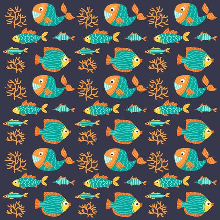 Seamless pattern with sea animals. Underwater life. Flat design. Vector illustration. Design element for fabric, wallpaper or wrapping paper.