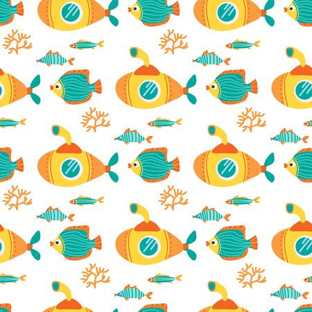 Seamless pattern with yellow submarines and angelfishes. Underwater life. Flat design. Vector illustration. Design element for fabric, wallpaper or wrapping paper. Ilustracja
