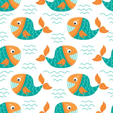 Seamless pattern with whales. Underwater life. Flat design. Vector illustration. Design element for fabric, wallpaper or wrapping paper.