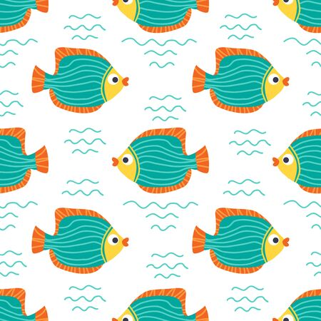 Seamless pattern with angelfishes. Underwater life. Flat design. Vector illustration. Design element for fabric, wallpaper or wrapping paper. Ilustracja