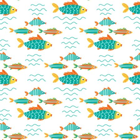 Seamless pattern with fishes. Underwater life. Flat design. Vector illustration. Design element for fabric, wallpaper or wrapping paper.