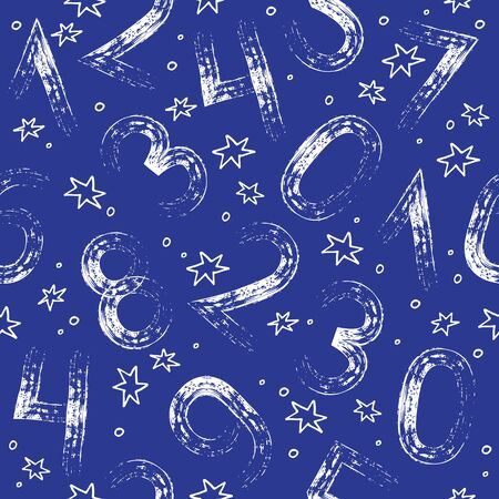 Seamless pattern with numbers. Design element for wallpaper, wrapping paper or fabric. Numerology, astronumerology and human design character. Vector illustration. Ilustracja