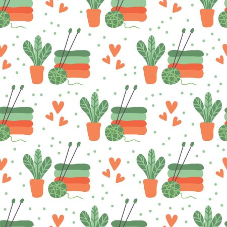 Colorful knitting ball and needles. Vector illustration. Flat design element for fabric, banner, wallpaper, gift wrap.