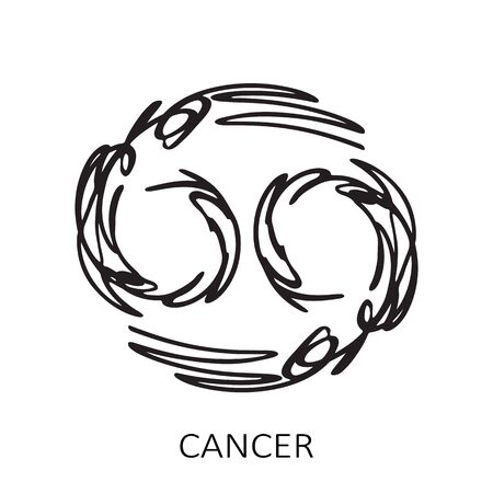 Zodiac sign Cancer isolated on white background. Zodiac constellation. Design element for horoscope and astrological forecast. Hand drawn style. Vector illustration.
